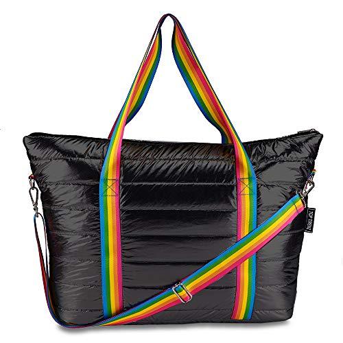 Top Trenz Puffer Tote Bags,Weekenders,Overnight Bags (Black Puffer w/rainbow ()