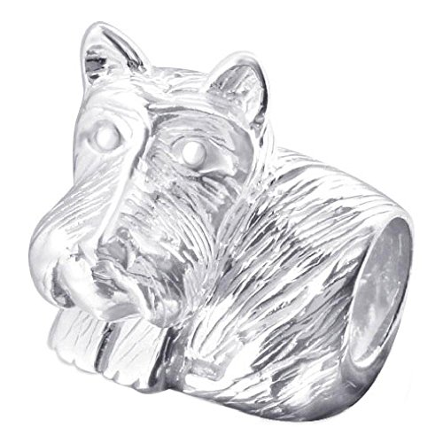 (So Chic Jewels - 925 Sterling Silver Charm Bead - Dog Puppy Scottish Terrier Schnauzer - Compatible with Pandora, Trollbeads, Chamilia, Biagi)