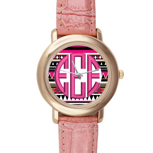 Gifts for girls or ladies Colourful Aztec Pattern Pink Leather Alloy High-grade Watch by Aztec Pattern Watch