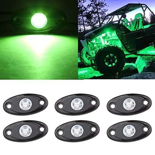 (LED Rock Light Kits 6 Pod LED Light Lamp for Interior Exterior Under Off Road Truck Jeep ATV SUV Jeep 4x4 Boat 4wd Motorcycle Car (Green))
