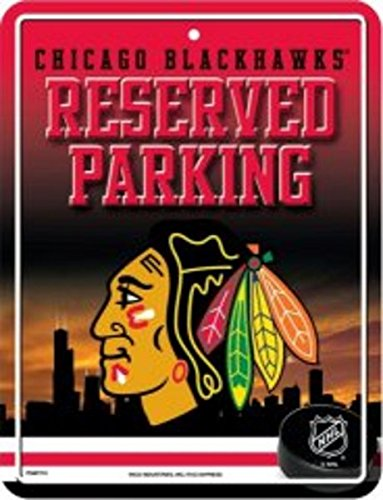Chicago Sign Street Blackhawks - NHL Chicago Blackhawks 8-Inch by 11-Inch Metal Parking Sign Décor