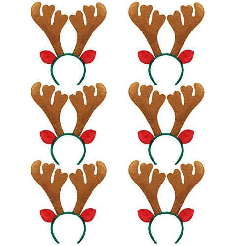 Fascigirl 6PCS Christmas Headband Fashion Antler Leaf Bell Decor Party Headband Hair Hoop … (Brown reindeer with green -