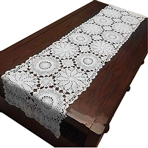 USTIDE Rustic Floral Table Runner Handmade Crochet Table Doily White 15″X47″