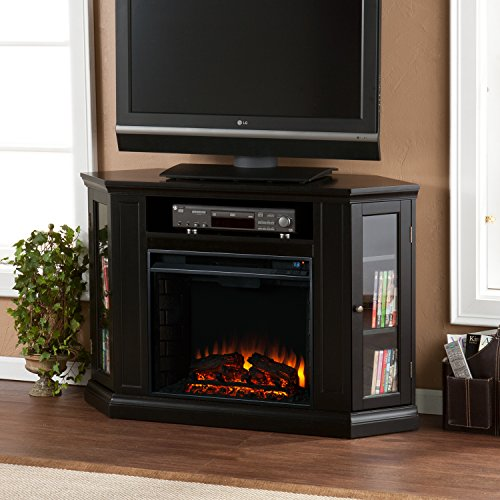 Log Corner Tv Shelf (Convertible Electric Fireplace with Cabinet , TV Media Stand Console - Black)