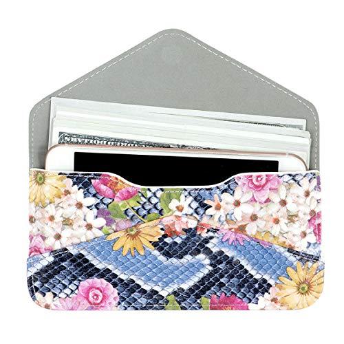 Women's Card Wallet Envelope Style Credit Card Holder Cute Cash Wallet for Ladies (Embossed Colored Flowers)