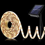 BOSWEE Solar Strip Lights, 16.4ft-5m LED Flexible and Cuttable Solar Strip Lights, Waterproof IP67, 8 Modes, Auto ON/Off Light Strip for Indoor Outdoor Lighting (Warm White)