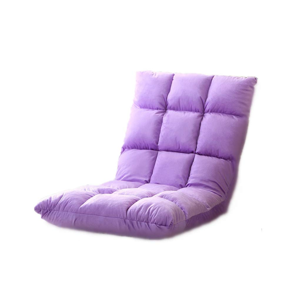 Lazy Couch Single Folding Recliner, Bay Window Cushion Chair Tatami Leisure Lounger, Purple