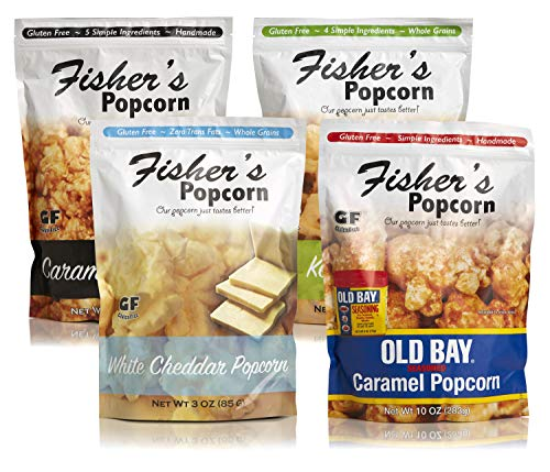 Fisher's Popcorn 4 Bag Flavor Variety Pack, Gluten Free, Simple Ingredients, Zero Trans Fat, 3oz-10oz Bags (Pack of -