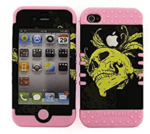 HYBRID IMPACT SILICONE CASE + LIGHT PINK SKIN FOR APPLE IPHONE 4 4S YELLOW SKULL