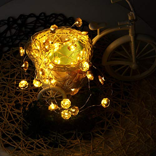 H+K+L 40LED Battery Operated Power String Bendable Copper Wire String Christmas Lights (Yellow) by H+K+L