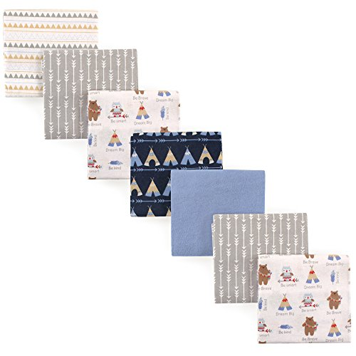 Luvable Friends 7 Piece Flannel Receiving Blanket, Tribe, On
