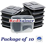 Reditainer® 3-Compartment Microwave Safe Food Container with Lid/Divided Plate/Lunch Tray with Cover, Black, 10-Pack (10)