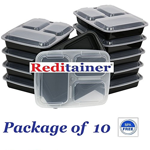 Reditainer 3-Compartment Microwave Safe Food Container with Lid/Divided Plate/Lunch Tray with Cover, Black, 10-Pack ()