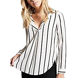 HUANYOU Women's Casual V-Neck Long Sleeve Striped Chiffon Blouse Ladies Tops
