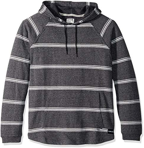 Hurley Men's Crone Marled Textured Pullover Hoodie, Black Heather, L ()
