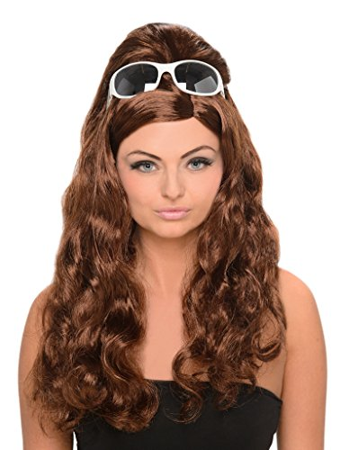 Brown Bouffant Wig - 60s Style Housewife Wig with Beehive Poof