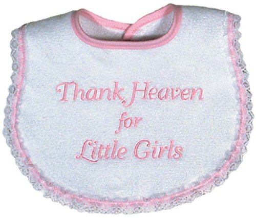 Raindrops Thank Heaven For Little Girls Embroidered Bib, Pink (Thank Girl Heaven)