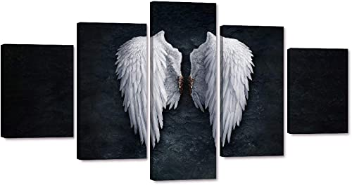 Yatsen Bridge Modern Angel Wings Wall Art 5 Piece Contemporary Abstract Canvas Wall Decor Painting Room Decorations Stretched Ready to Hang for Bedroom Decor – 60 W x 32 H