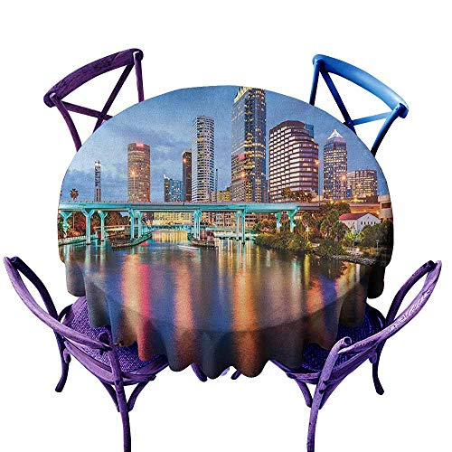 ONECUTE Round Outdoor Tablecloth,City Hillsborough River Tampa Florida USA Downtown Idyllic Evening at Business District,Party Decorations Table Cover Cloth,50 INCH Multicolor -