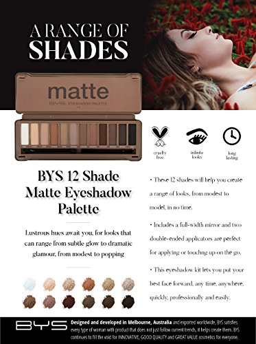 BYS 12 Shade Matte Eyeshadow Palette Tin Collection with Mirror, Double Ended Applicator and Blender, Nude and Smoke