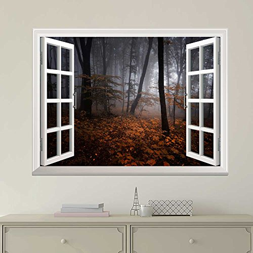 White Window Looking Out Into a Dark Foggy Forest During Fall Time Wall Mural