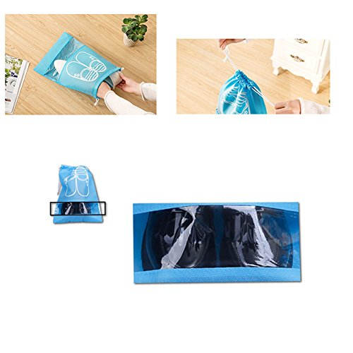 Pack of 10 Dust-proof Breathable Travel Shoe Organizer Bags for Boots, High Heel - Drawstring, Transparent Window, Space Saving Storage Bags, Medium Size, Sky Blue by WESTONETEK (Image #3)