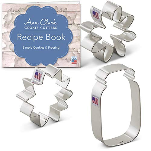 Summer Flowers Cookie Cutter Set with Recipe Booklet - 3 piece - Sunflower, Daisy and Mason Jar - Ann Clark - USA Made Steel