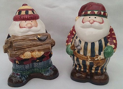 Salt and Pepper Shaker Woodland Santa Debbie Mumm