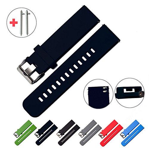 Quick Release Watch Bands - Choice of Colors & Widths (18mm, 20mm or 22mm) - Soft Silicone Rubber (Deep blue ash, 20mm) (Watch Game Of Thrones Online Good Quality)