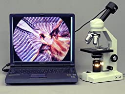 AmScope M500A Monocular Compound Microscope, WF10x and WF16x Eyepieces, 40x-1600x Magnification, Anti-Mold Optics, Tungsten Illumination, Brightfield and Polarizing, Abbe Condenser, Coarse and Fine Focus, Plain Stage, 110V