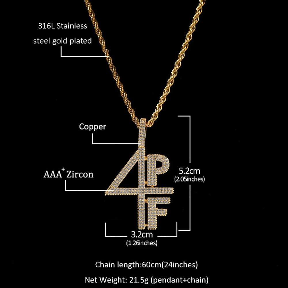 Bling 4PF Hip hop Pendentif Brillant Collier En Cuivre Pour Hommes Ice Out CZ Or Pendentif Corde Cha/îne Collier