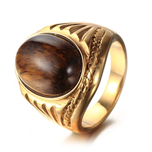 - Oakky Unisex Stainless Steel Vintage Oval Gemstone Tiger Eye Ring Gold Brown Size 9