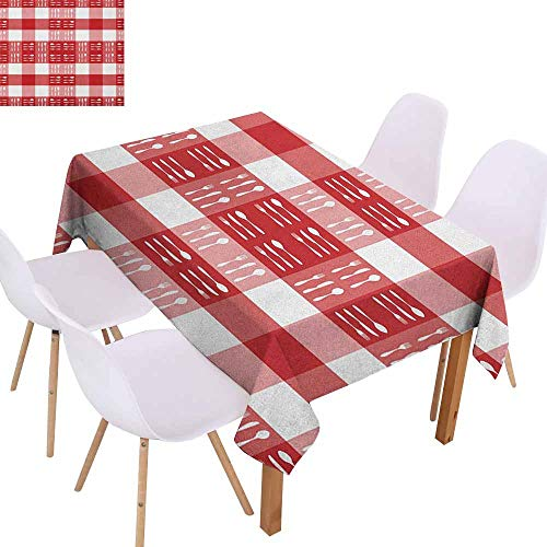 - Marilec Waterproof Tablecloth Checkered Cutlery Silhouettes on Squares Dining Picnic Themed Tile Spoons Forks Knives Party W54 xL84 Red Pink White
