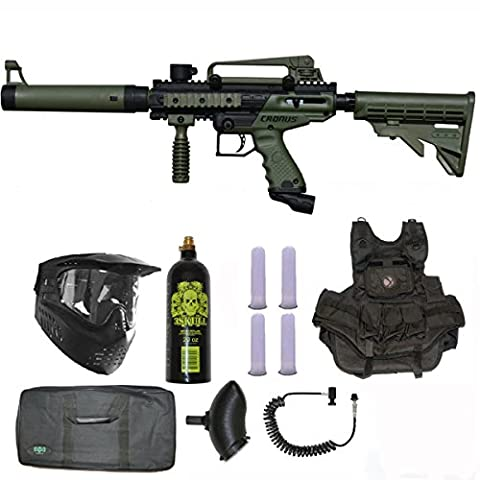 Tippmann Cronus Tactical Paintball Gun 3Skull Vest Sniper Set - Olive - Gun Sniper Set
