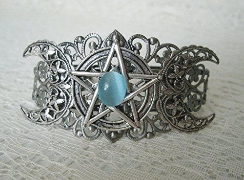 Triple Moon Pentacle Cuff Bracelet, handmade jewelry wiccan pagan wicca goddess witch witchcraft pentagram magick gothic