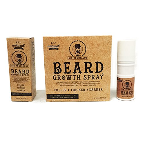 Sir Reginalds Beard Growth Spray - The Solution for the Perfect Beard - 100 % Natural Formula - Fuller, Thicker, Darker