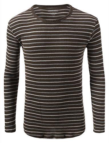 7 Encounter Rue 21 Carbon Stripe Long Sleeve Crewneck Pullover Olive Size M (Rue 21 Carbon)