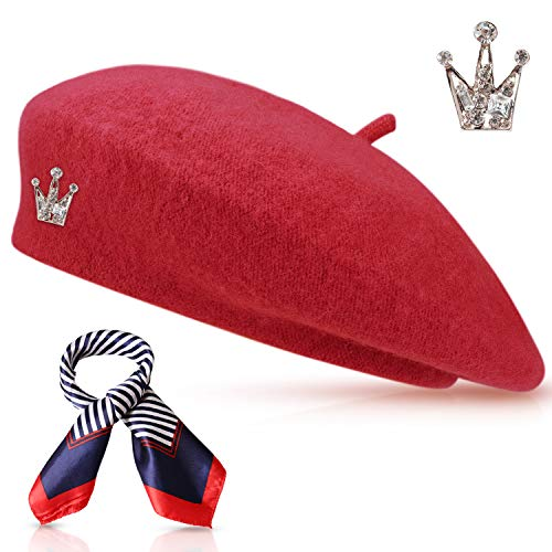 Wool Beret Hat Solid Color French Beret with Skily Scarf and Brooch (red) -