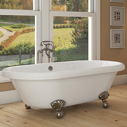Luxury 72 inch Large Clawfoot Tub with Vintage Tub Design in White, Includes Brushed Nickel Ball ...