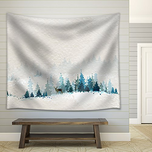 Winter Landscape with Fir Forests and Deer Fabric Wall Tapestry