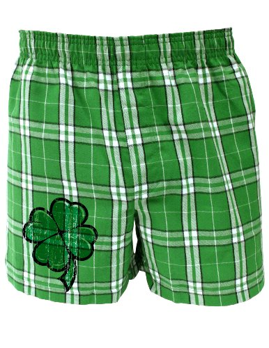 Cartoon Shamrock Clover - St Patricks Day Boxers Shorts - KellyPlaid - Large (Shamrock Boxer Shorts)