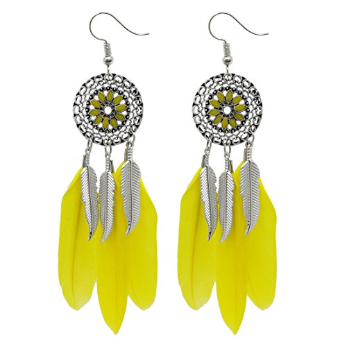 AIHIQI Fashion Flower Long Leaf Bead Feather Tassel Dangle Earrings for Women Girl Party Gift (Yellow)