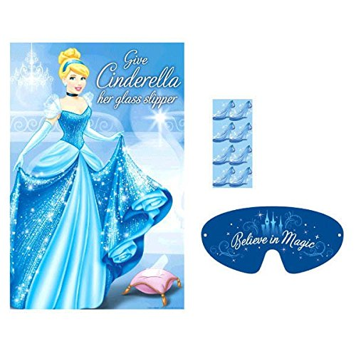 Disney Cinderella Fun Glass Slipper Birthday Party Game (4 Pack), Blue, 37 1/2