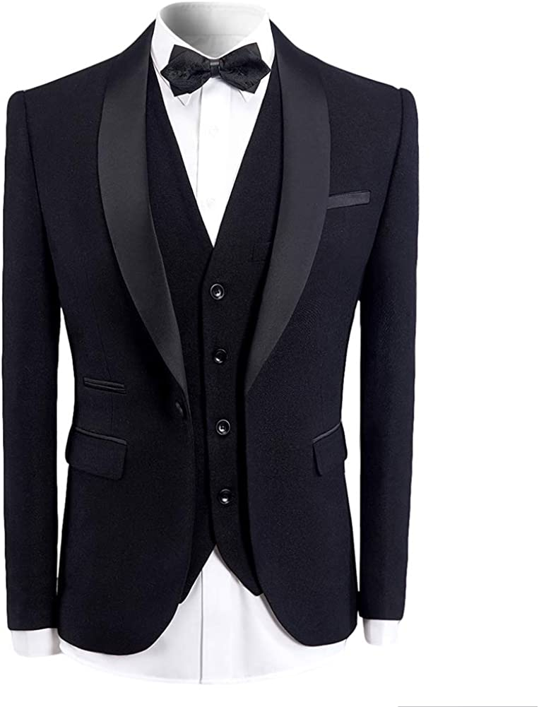 Mens 3 Pieces Tuxedo Suits Black Blue Wine Red Slim Fit Wedding Formal One Button Shawl Lapel Blazer Jacket Trouser Waistcoat Amazon Co Uk Clothing