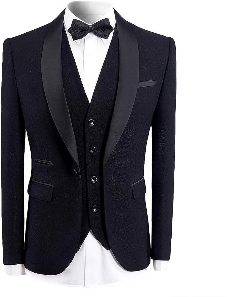 Mens 3 Pieces Tuxedo Suits Black Blue Wine Red Slim Fit Wedding Formal One Button Shawl Lapel Blazer Jacket Trouser Waistcoat Amazon Co Uk Clothing