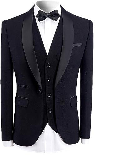 Abito da Uomo Gilet Business Formale Matrimonio Festa Tuxedo slim fit in magazzino 3 COLORI