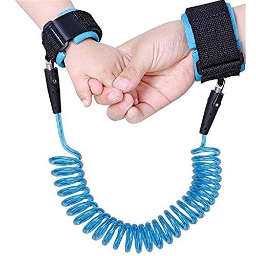 Kidsidol bebé niño anti muñeca perdida enlace arnés de seguridad de 2,5 m para niños suave cómoda segura para niños (azul)