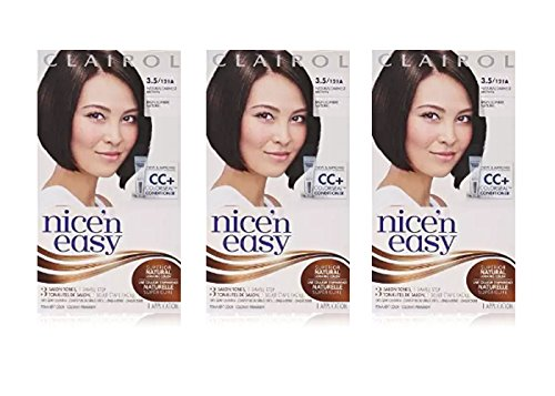 Clairol Nice 'n Easy Hair Color 121A, 3.5 Natural Darkest Brown 1 Kit (Pack of 3) (PACKAGING MAY - Mix To Color Brown How