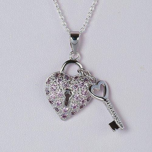 - Sterling Silver Pink CZ Heart & Key Pendant Fancy Charm Solid 925 Silver - Silver Jewelry Accessories Key Chain Bracelet Necklace Pendants