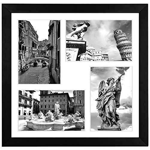 Americanflat 11x11 Black Collage Frame - Made to Display 4 4x6 Inch Pictures with Mat - Tempered Shatter-Resistant Glass - Hanging Hardware Included